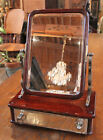 VICTORIAN SHAVING STAND - BEVELED MIRROR,  SILVER METAL MOUNTS