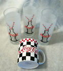 3 Coke-Cola Coke Frosted Drinking Glasse Bottle w/Straw & 1 Gibson Coffee Cup #1