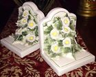 Pair Vintage Bookends ITALY Floral Daisies Fabulous