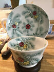 Antique pines with flowers handle less cup and saucer with Stafforshire mark