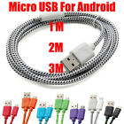 3 6 10FT Braided Fabric Micro USB 20 Charging Sync Data Cable For Mobile Phones