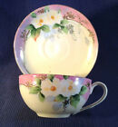 NIPPON Pink & White Tea Cup & Saucer, Hand Painted, Gilding & Moriage, Crown TM