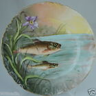 ANTIQUE LIMOGES HAND PAINTED PLATE,FISH,WATER IRIS FLOWER ARTIST SIGNED