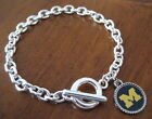 University of Michigan Wolverines SILVER TOGGLE CHARM BRACELET jewelry Go Blue