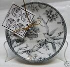 222 FIFTH ADELAIDE GREY SET OF 4 ROUND APPETIZER PLATES TOILE BIRD BRAND NEW