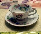 Vintage Floral Tea Demitasse Cup /Saucer - Occupied Japan Blue Ink Hand Painted