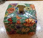 Vintage Chintz LID Only - Square Lid for Butter Dish - Flowers Birds Strawberry