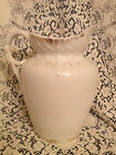 Antique Ironstone Large White Wash Pitcher Gold Trim Ornate Detailing