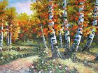 Aspen Trees Turing Landscape Hand Painted 24