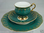 VINTAGE EMERALD GREEN,HEAVY GOLD CUP,PLATE,SAUCER SET TRIO ROSINA ENGLAND