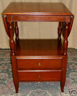 CHERRY DROP LEAF TABLE Side, End Stand, 2 Tiered,Drawers Fallon