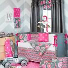 Pink and Gray Decorative Floral Flowers Baby Girls 4pc Nursery Crib Bedding Set