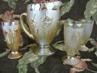 Vintage Jeannette Iris & Herringbone Marigold Pitcher with 3 footed Tumblers