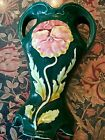 Early 1900s Art Nouveau Eichwald majolica art pottery vase Germany pansy green