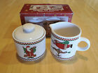 Sakura Debbie Mumm MAGIC OF SANTA Set of Creamer & Sugar with Lid 3 pcs