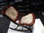 Antique FOLDING TAPESTRY ROCKER Victorian  WOOD Rocking Chair Nursery  see notes