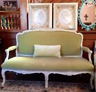 Antique French Provincial Sofa Settee Louis XV Baroque Ornately Carved Wood