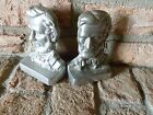 Vintage Abraham Lincoln Bookends heavy silver or pewter look cast