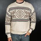 Vintage Fair Isle Sweater Nordic Thick Ski Christmas Warm Soft Lodge Winter