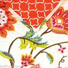JACOBEAN FLORAL & VINE QUEEN QUILT 4pc SET BIRD TEAL PINK ORANGE RED YELLOW FULL