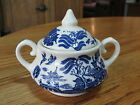 Old Willow Blue White Sugar Bowl & Lid English Ironstone Tableware England