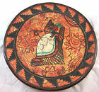 Hand-Painted Pottery Large Decorative Platter Burnt Sienna Black Signed