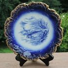 Empire Works Stoke On Trent England Blue & White Plate Sea Trout Fish Gold Gilt