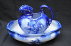 LES ENFANTS STAFFORDSHIRE IRONSTONE WASH BOWL & PITCHER SET, FLOW BLUE, ENGLAND