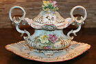 Porcelain Footed Tureen w/Applied Roses Made in Portugal Alfal Export Numbered