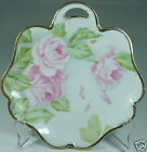 VINTAGE SMALL FREE FORM PLATE W/HANDLE,PINK ROSES,GREEN LEAVES,GOLD RIMS,SIGNED