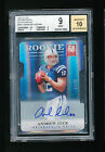 BGS 9 ANDREW LUCK 2012 PANINI ELITE ASPIRATIONS DIE CUT AUTO RC JERSEY #D 12 49