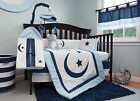 Blue Moon and Stars 9 Piece  Baby Bedding Set in 100% Cotton