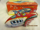 Vintage ROCKET RACER Tin litho Friction Toy race car driver spaceship CHINA