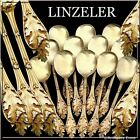 Linzeler French Sterling Silver Vermeil Ice Cream Spoons Set 12 pc Wild flowers