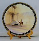 """Antique Handpainted Nippon 10"""" plate with Camel Scene w/Gold Moriage Trim"""