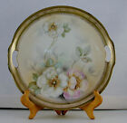 """Antique PROV SAXE ES Germany 10"""" Floral Plate w/Gold Rim and Open Handles"""