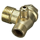 1PC 3 Port Brass Male Threaded Check Valve Connector Tool for Air Compressor