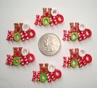 6PC OH MY GOSH GOODIES HO HO HO CHRISTMAS FLATBACK RESINS 4 HAIRBOW BOW CENTER