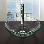 Bathroom Round Tempered Glass Vessel Sink Clear Bowl Faucet Pop up Drain Combo