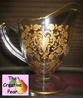 Vintage Gold Rose Floral Pattern Etched Clear Glass Footed Creamer Pitcher