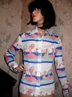 VINTAGE1970s BEACH SCENE NOVELTY PRINT CRUISE WEAR BLOUSE-TOGETHER WITH LAI-MED