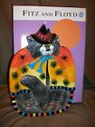FITZ & FLOYD KITTY WITCHES W/ SPIDERS HALLOWEEN CAT WITCH CANAPE PLATE