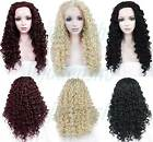 Front lace Wig Hair Long Spiral Curly Black Blonde Red Brown 26 Inches Anti Heat