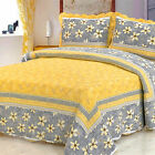 IDEALLIFE 100%Cotton Bedspread Coverlet Quilt 3pc set Queen Size - Yellow Daisy.