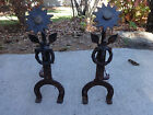 Antique Wrought Forged Iron Andirons Flower cross horse shoe wreath symbolism