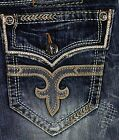 New Rock Revival Mens Jean Sebastian J Straight Fit Vintage Big Stitch Fleur
