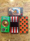 LOT OF4 HANDHELD GAMES VINTAGE 1970'S MOTOCROSS ROULETTE BACKGAMMON AND CHECKERS