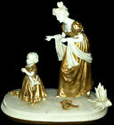 ANTIQUE GERMAN DRESDEN KISTER LADY MOTHER WITH BABY DAUGHTER PORCELAIN FIGURINE