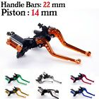 14mm 22mm Front hydraulic Brake Master Cylinder & cable Perch w/Fluid Reservoir
