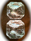 2 JOHNSON BROTHERS Olde English Countryside ~ Square Salad Plates  7 1/2 In